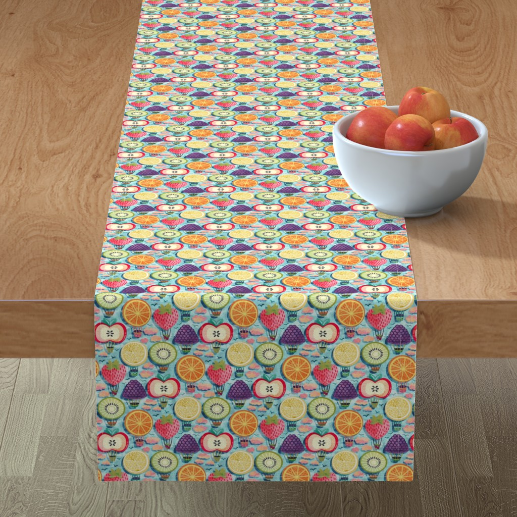 Minorca Table Runner featuring Fruity Hot Air Balloons (Small Version) by tigatiga