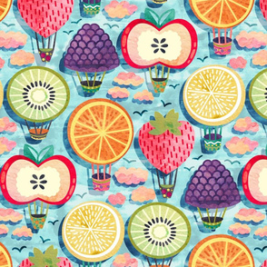Fruity Hot Air Balloons (Large Version)