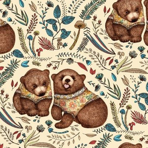 Whimsical Bear Pair with Fantasy Flora  - small