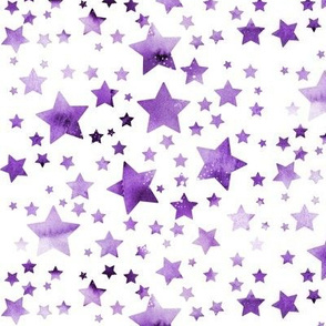 Stars-  watercolour purple #2