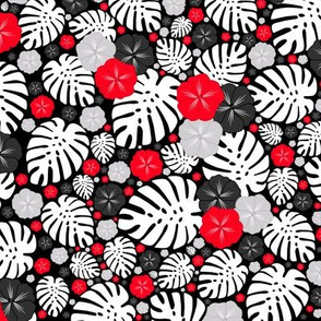 Tropical Chintz Spring Black Red Grey