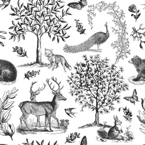 Woodland Toile grey on white - large scale
