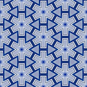 blue and white geometric star