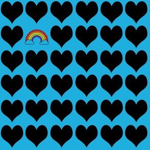 Black hearts with rainbow on blue