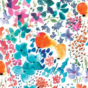 Spring meadow bright floral print