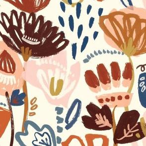 Autumn doodle flowers