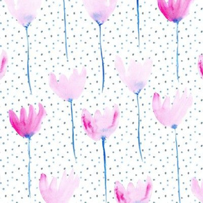 Watercolor pink dainty flowers with dots