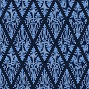 Modern indigo blue geometric hand drawn linear diamond.