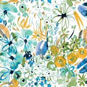 Spring wild floral in loose gestural watercolor