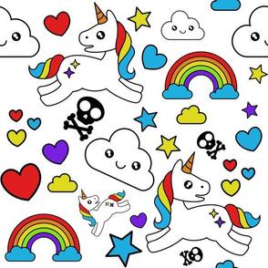 Mystical Cartoon Unicorns skulls and Rainbows on white