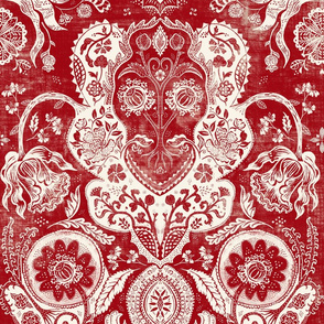 Vintage Floral in Red and cream