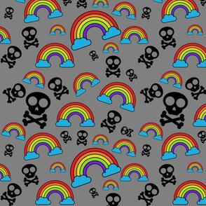 Rainbows and Skulls on gray smaller