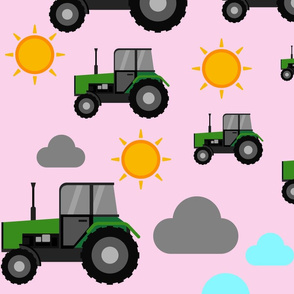 Tractors on the farm on pink