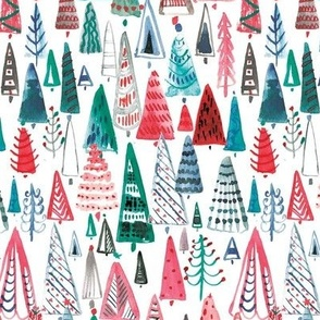 Watercolour patterned festive trees
