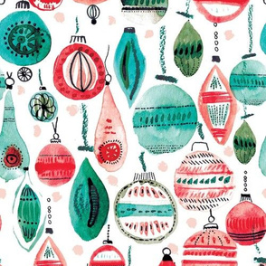 Retro Christmas baubles in red and green