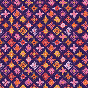 bright floral pattern in a diamond grid