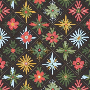floral diamond grid with dots