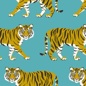 Tiger Parade - Ochre on Teal by Heather Anderson