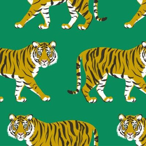 Tiger Parade -Ochre on Emerald by Heather And