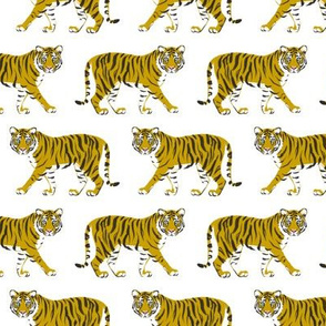 Tiger Parade -Ochre on White- small by Heather Anderson