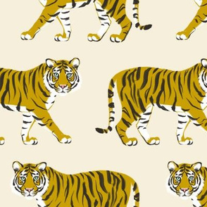 Tiger Parade -Ochre on Cream by Heather Anedr