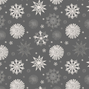 Straw Snowflakes Grey