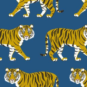 Tiger Parade -Ochre on Royal Blue by Heather And