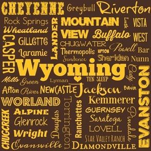 Wyoming cities,  brown with yellow