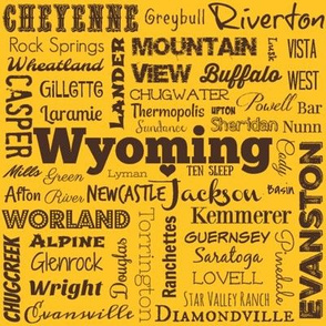Wyoming cities,  yellow with brown