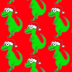 Cute Christmas T Rex - on red