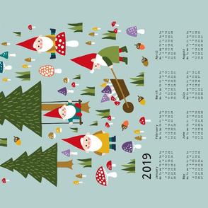 Gnomes Tea Towel Calendar 2019