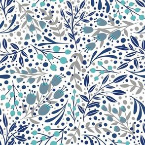 Fun Floral - Blue Grey