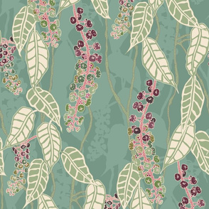 Finale Italian Berry purple green cream pink gold  foliage floral flower leaves leaf climber repeating pattern
