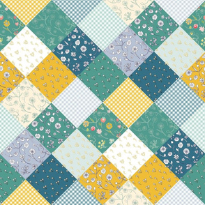 Spring Rain Diamond Patchwork Quilt