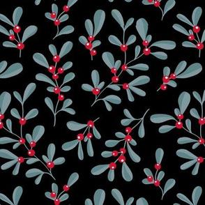 Little mistletoe garden minimal botanical berries and leaves Christmas design black blue