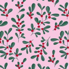 Little mistletoe garden minimal botanical berries and leaves Christmas design green pink