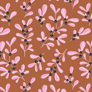 Little mistletoe garden minimal botanical berries and leaves Christmas design rust pink gray