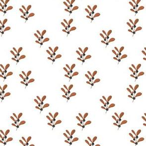 Little mistletoe branch minimal botanical berries and leaves Christmas design white rust gray