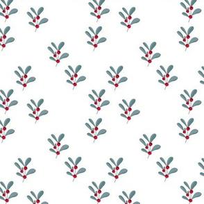 Little mistletoe branch minimal botanical berries and leaves Christmas design white blue red