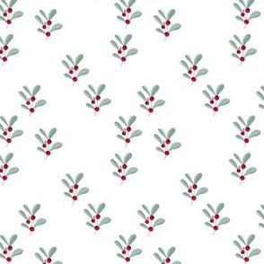 Little mistletoe branch minimal botanical berries and leaves Christmas design white green red