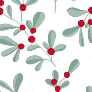 Little mistletoe garden minimal botanical berries and leaves Christmas design white green red LARGE