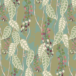 FINALE Italian Berry green pink gold purple cream hand drawn repeating pattern leaves leaf berry floral botanica