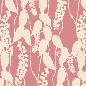Finale Italian Berry cream and pink leafy leaves foliage hand drawn repeating pattern