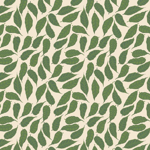 Finale Italian Berry falling  hand drawn green leaves repeating pattern on a cream background colour