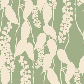 Finale Italian Berry cream and green hand drawn repeating pattern foliage leaves berries floral