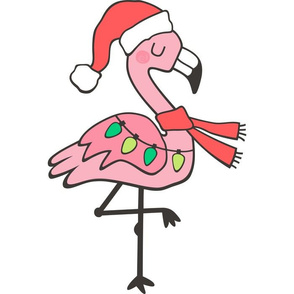 Christmas Holiday Flamingo Pillow Plush Plushie Softie Cut & Sew