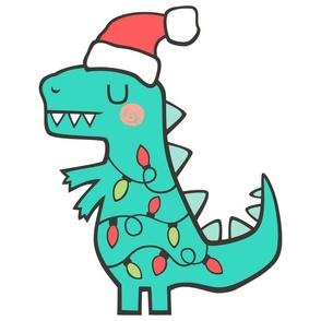 Christmas Holidays T. Rex Dinosaur Pillow Plush Plushie Softie Cut & Sew