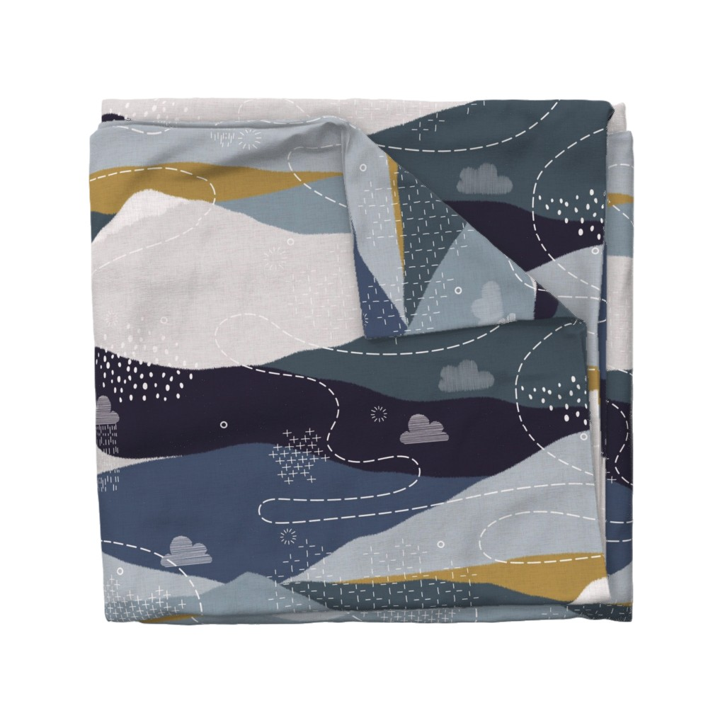 Wyandotte Duvet Cover featuring JUMBO ever blue mountains by booboo_collective