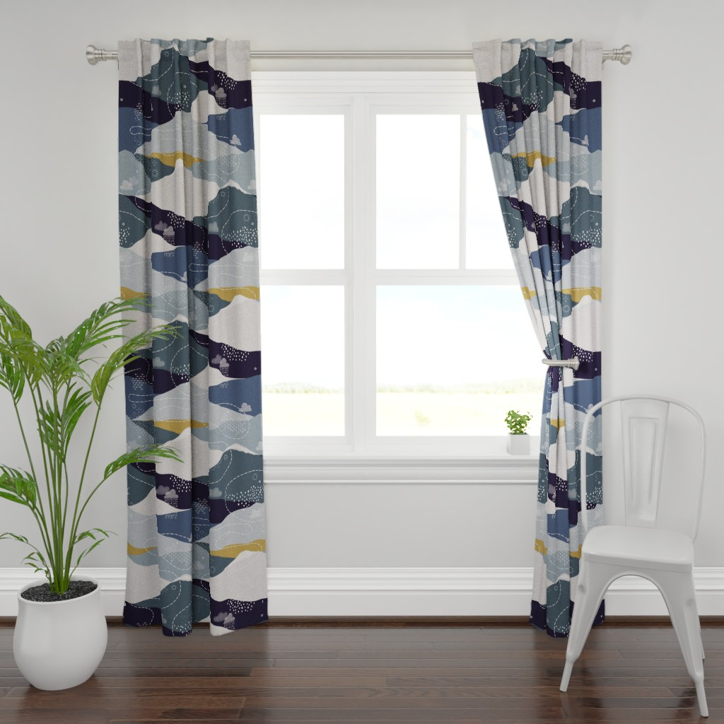 Plymouth Curtain Panel featuring JUMBO ever blue mountains by booboo_collective