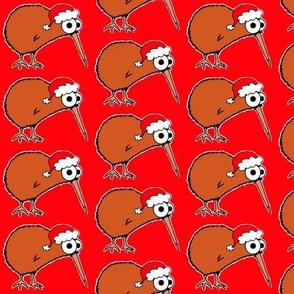 Christmas Kiwi - on red